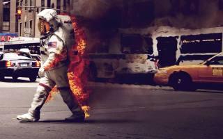 космонавт, огонь, Скафандр, дым, город, машины