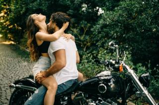 girl, guy, motorcycle, kiss, passion
