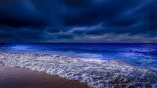 ніч, окутала, морське, узбережжя, відлив, хвиля, хмари, горизонт, даль