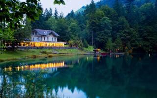 Švýcarsko, Кандерс, molo, strom, jezero, dům, soumrak, světla