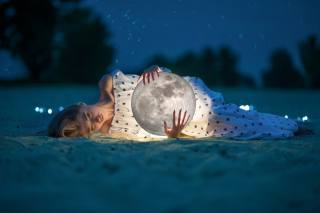 девушка, луна, ночь, звёзды, креатив