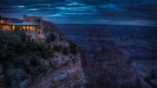 Grand Canyon, hory, dům, večer, skála, příroda, budovy, utes