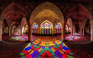 stained glass, color, light, columns, pattern, carpet