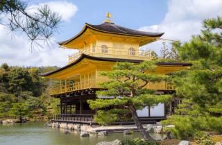 Japonsko, Kjóto, Храм Kinkaku-ji Temple, smrk, město