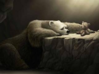 грустный, медведь, плюшевый мишка