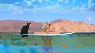 holka, moře, kočka, nebe