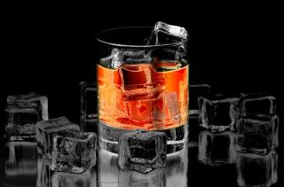 Whiskey, glass, cubes, ice, black, background