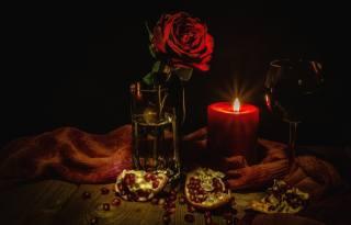 zátiší, sklenici, květina, růže, Sklenice na víno, tkanina, Svíčka, granátové jablko, obilí