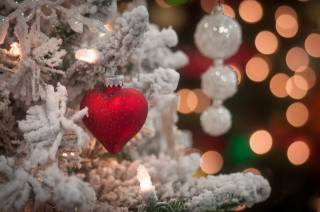 winter, snow, branches, holiday, Christmas, toy, beads, light bulb, heart, tree, New year, bokeh