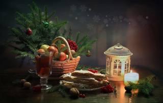 праздники, Новый год, Рождество, Композиция, корзина, ветки, ель, елка, Свеча, фонарь, Бокал, напиток, фрукты, ягоды, орехи, тарелка, выпечка, пирог