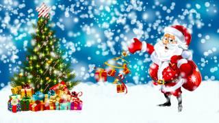 santa claus, zima, vánoční stromeček