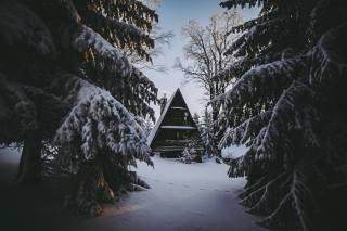 domeček, zima, sníh, závěje