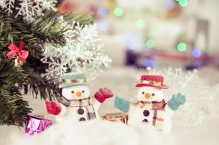 svátek, Nový rok, vánoční strom, sníh, výzdoba, Hračky, sněhuláci