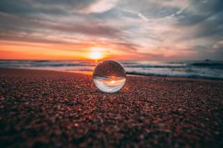 ball, glass, reflection, sea, sunset, shore