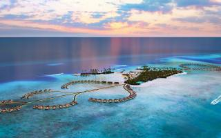 Maldives, океан, tropical islands, luxury hotel, бунгало, вечер, закат