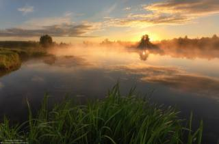 the lake, morning, dawn, fog, photographer, Андрей Олонцев