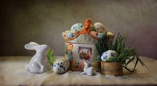 grass, holiday, EGGS, Easter, rabbits, figures, Composition, Ковалёва Светлана
