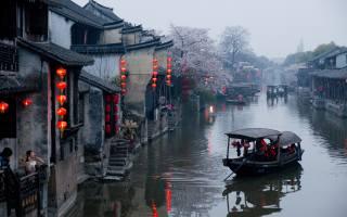 Китай, деревня, река, весна, цветы