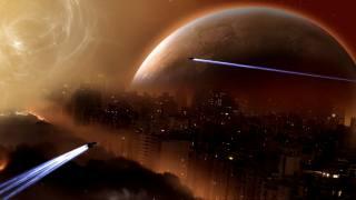 космическая планета, город научная фантастика. космический корабль
