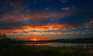 закат, река, пейзаж, берег, камыш