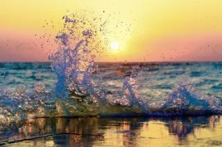 vlna, moře, sprej, slunce