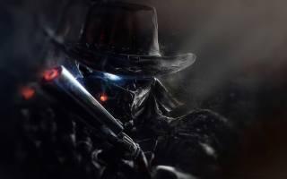 Shadow, Man, with, gun