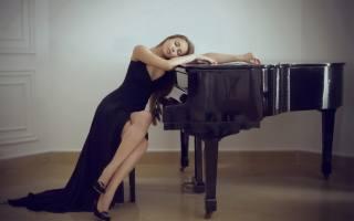 girl, in black, dress, piano