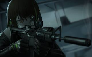 м4а1, тьма, художнє твір, SRPG, girl with rifle, манга, Girls Frontline