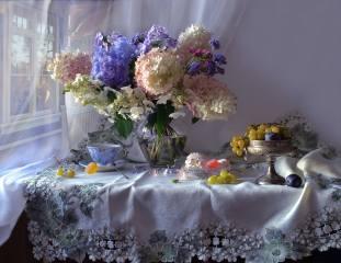 Валентина Колова, zátiší, stůl, ubrousek, váza, květiny, hortenzie, pohár, bobule, hrozny, ovoce, švestky, zásuvka, sladkosti, marshmallows, Marmeládu, šálek, okno, sprchovým závěsem