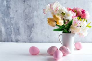 holiday, Easter, Board, EGGS, eggs, pitcher, flowers, branches, Sakura, cherry, tulips, Peonies