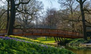 Německo, jaro, park, most