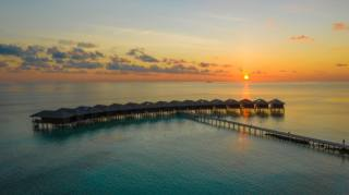 sunset, the ocean, Bungalow, the sun, pierce, the beach