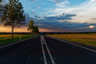 дорога, асфальт, деревья, вечер