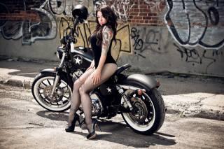 HARLEY-DAVIDSON, мотоцикл, девушка, Граффити