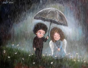 зонтик, дождь, настроение, мальчик, арт, ПАРА, девочка, чувство