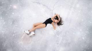 девушка, на льду, фото, максим густарёв