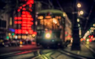 tram, evening, lights, blur, glare