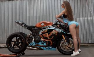 the bike, motorcycle, lass, posing