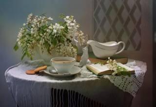 Ковалёва Светлана, zátiší, stůl, ubrousek, šálu, váza, větvičky, akát, šálek, káva, sušenky, молочник, knihy, figurka, kitty