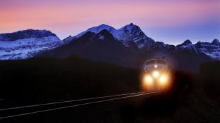 nature, mountains, railway, the way, train, evening