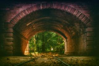 the tunnel, rails, Composition