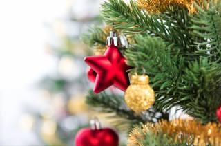svátek, Nový rok, Vánoce, vánoční strom, větvičky, jehličí, dekorace, pozlátko, Hračky