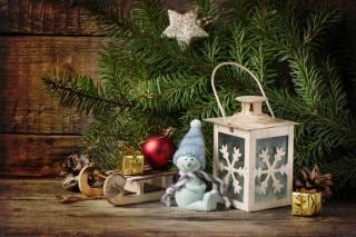 desky, větvičky, smrk, vánoční strom, svátek, Nový rok, Vánoce, Hračky, sáňky, svítilna, шишка. снеговик, figurka