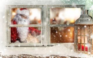 праздник, Новый год, зима, окно, дед мороз