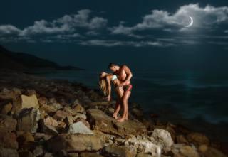 девушки, Любовь, мужчины, природа, небо, ночь, луна, море