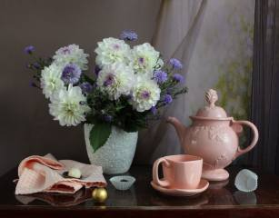 table, window, napkin, vase, flowers, Dahlias, dishes, kettle, Cup