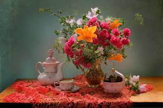 still life, still life, table, napkin, pitcher, flowers, the vase, candy, kettle, Cup