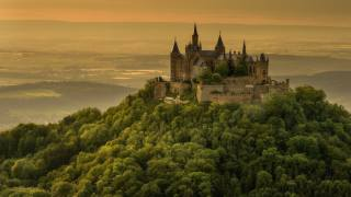 forest, summer, trees, mountains, fog, castle, hills, view, height, distance, Germany, the slope, horizon, hill, tower, haze
