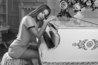 girl, dress, the piano, legs, Evgeniy Li