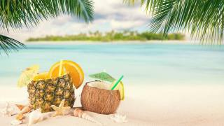 drink, delicious, tropical, cocktail, fruit, pineapple, coconut, кокосовый, walnut, orange, slice, tropics, the beach